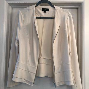 White layered peplum jacket